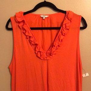 CROWN & IVY | Orange Blouse W/ Ruffled Neckline